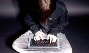 A boy on a laptop