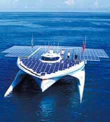 The MS Tûranor PlanetSolar passes Bora Bora in the Pacific on its voyage around the world