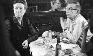 Simone de Beauvoir and Jean Paul Sartre at the Café de Flore in Paris.