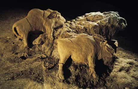 The prehistoric bison carving at the Tuc D'Audoubert caves in France