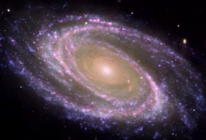 A galaxy photographed by the Hubble Space Telescope