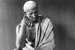 A picture of the statue of Aristotle