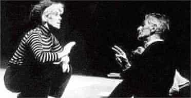 Beckett rehearsing Footfalls with Billie Whitelaw at the Royal Court Theatre, 1976.