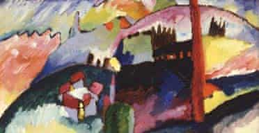 Detail from Kandinsky's Landscape with Factory Chimney (1910)