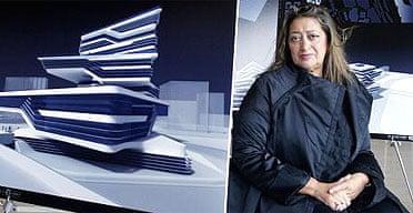 Zaha Hadid with an artist's impression of the Edifici Campus, Barcelona