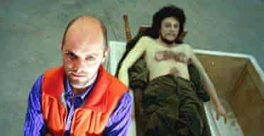 Gavin Turk with his 2000 work Death of Che