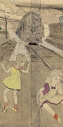 Detail from Henry Darger's Untitled (Train Tracks and Girls)
