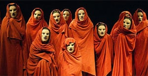 Greek chorus in The Bacchai at the National Theatre