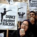 Anti-fascist protesters picket the English National Ballet to criticise BNP member Simone Clarke