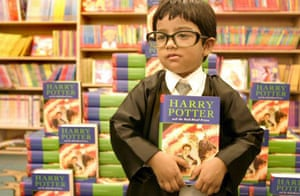 A boy and his Harry Potter book