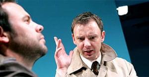 Keir Charles and John Simm in Elling, Bush Theatre