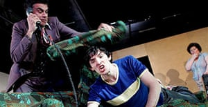 Mark Lockyer and Colin Morgan in Vernon God Little, Young Vic