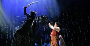 David Grant as a Black Rider and James Loye as Frodo in The Lord of the Rings, Theatre Royal, Drury Lane