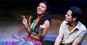 Sirine Saba (Luma) and Nitzan Sharron (Marwan) in Baghdad Wedding, Soho Theatre
