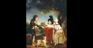 Portrait of Sir Francis Ford's Children Giving a Coin to a Beggar Boy by  Sir William Beechey  1753-1839