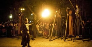 Three witches on stilts in Macbeth: Who Is That Bloodied Man?, Edinburgh
