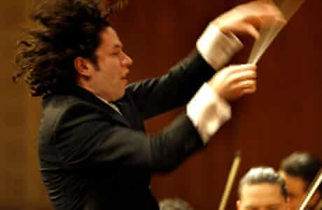 conductor Gustavo Dudamel conducts The Simón Bolívar Youth Orchestra