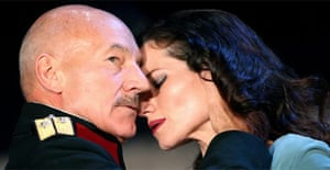 Patrick Stewart (Macbeth) and Kate Fleetwood (Lady Macbeth) in Macbeth, Gielgud Theatre, London