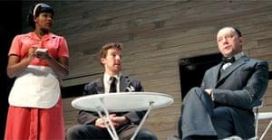 Claire Prempeh (Waitress), Benedict Cumberbatch (Berenger) and Jasper Britton (Jean) in Rhinoceros, Royal Court, London
