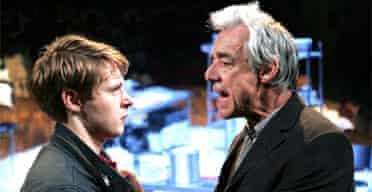 Sam Barnett (Carl) and Roger Lloyd Pack (Ash) in Dealer's Choice, Menier Chocolate Factory