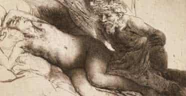 Seduced, Barbican: Jupiter and Antiope, 1659, by Rembrandt