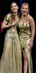 Darcey Bussell and Katherine Jenkins perform during the press night for Viva La Diva
