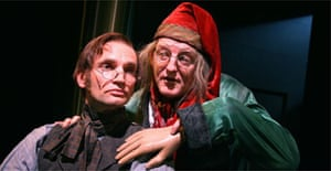 Patrick O'Kane (Bob Cratchit) and Sean Kearns (Scrooge) in God in Ruins by The Royal Shakespeare Company, Soho theatre, London