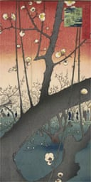 Detail from Hiroshige's Plum Estate, Kameido, 11th Lunar Month, 1857