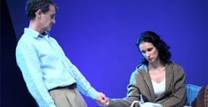 Anton Lesser (Oliver) and Indira Varma (Nadia) in The Vertical Hour by David Hare, Royal Court, London
