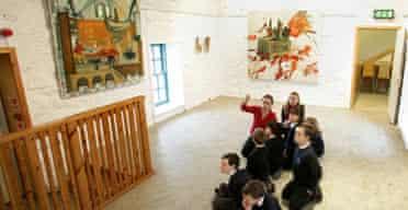 Schoolchildren at a museum