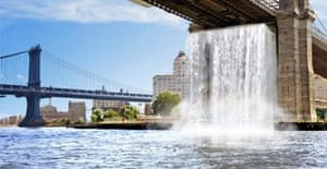 Eliasson's idea of Brooklyn Bridge waterfall