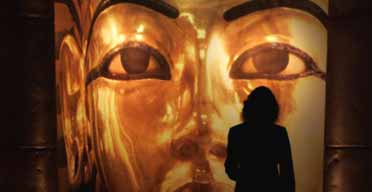 A visitor at the Tutankhamun and the Golden Age of the Pharaohs exhibitionthe Tutankhamun and the Golden Age of the Pharaohs exhibition