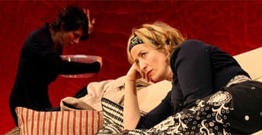 Tamsin Greig (Annette Reille) and Janet McTeer (Veronique Vallon) in God of Carnage, Gielgud Theatre, London