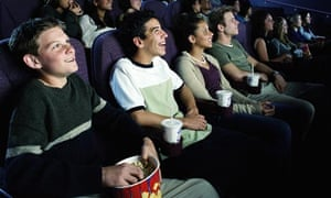 A group of teenagers in the cinema