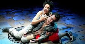 Jessika Williams (Saint Monica) and Joseph Mawle (Judas Iscariot) in The Last Days of Judas Iscariot, Almeida