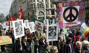 Campaigners for nuclear disarmament (CND) take part in a demonstration march 09 April 2004, in London