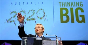 Prime Minister of Australia Kevin Rudd at the Australia 2020 summit held at Parliament House on April 19 2008 in Canberra