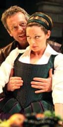 Stephen Boxer (Petruchio) and Michelle Gomez (Katherina) in The Taming of the Shrew, Courtyard Theatre, Stratford-upon-Avon