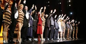 The cast of The Producers take their curtain call
