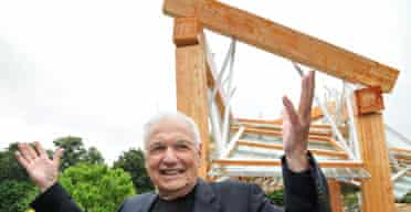 Frank Gehry Canadian architect and his Serpentine Pavilion, 'part-amphitheatre, part-promenade' glass and timber structure.