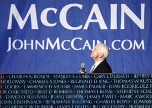 Composite image of John McCain in front of a campaign banner and a detail from the Vietnam Veterans Memorial wall in Washington DC