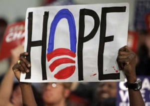 Supporters holds up a sign reading hope as Democratic presidential hopeful Senator Barack Obama D-Ill., speaks at a rally, Monday, Jan. 7, 2008, in Concord, N.H.