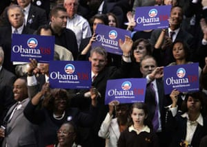 Supporters of Democratic presidential hopeful Sen. Barack Obama, hold signs at a rally at Yanitelli Center on St. Peter's College campus in Jersey City, New Jersey, Wednesday Jan. 9, 2008.