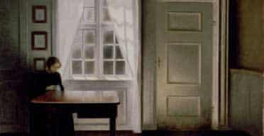 A woman sewing in an interior by Vilhelm Hammershoi, 1864-1916