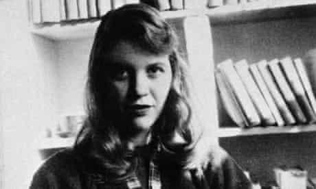 Poet Sylvia Plath in front of bookshelf