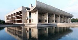The Chandigarh Legislative Assembly building, one of the buildings in the city's administrative hub designed by French architect Le Corbusier, is reflected in an adjoining pool