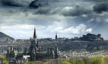 The Edinburgh sky line with the castle the New Town and The Royal Mile. In the fore Fettes College