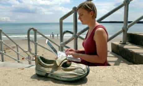 Charlotte Higgins writing a blog at the Folkestone Triennial art show