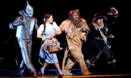 Adam Cooper (Tin Man), Sian Brooke (Dorothy), Gary Wilmot (Cowardly Lion) and Hilton McRae (Scarecrow) in The Wizard of Oz, Royal Festival Hall, London