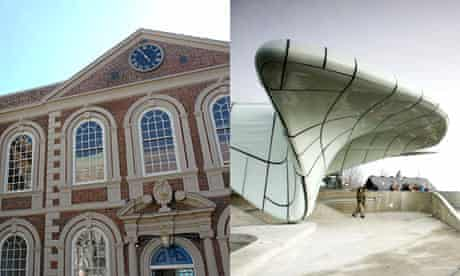 The Bluecoat Gallery in Liverpool and Zaha Hadid's Nord Park Cable Railway in Innsbruck, Austria